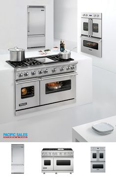 That Viking range!! Ohhh that Viking Wall Oven!! AND a Viking French-door double oven that features side swing doors for easier accessibility. We are in AWE too! Inspired by commercial ovens, its large 4.7-cubic foot capacity and patented convection system make it perfect for home chefs. Visit our Viking page to learn more.