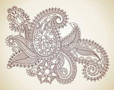 Henna floral tattoo design by Olesya Karakotsya - Imagens vectoriais em stock