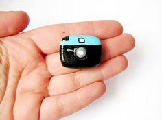 Diana Camera brooch miniature handpainted air by PinkrainShop. $12.00 USD, via Etsy.