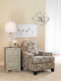 This master bedroom decorating picture features a lovely reading area.