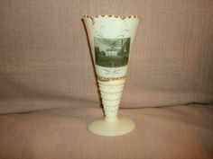 Whittier's Birth Place Haverhill MA Custard Glass Vase by PastPossessionsOnly, $29.95