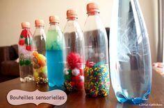 Activités d'éveil: Créer des #bouteilles #sensorielles pour stimuler les sens de #bebe