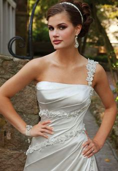 Lace-up One Shoulder Beaded A-line Wedding Dress
