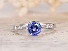 1.15ctw Tanzanite Engagement Wedding Ring,14K White Gold,AAA Round Tanzanite,Blue Gemstone,6-Prongs,