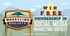 Good social media stuff http://www.socialmediaexaminer.com/win-social-media-marketing-society/ Win Free Membership in Social Media Marketing Society Social Media Examiner