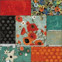 Gallery Fiori Fat Quarter Bundle in Red - maybe colors for family room - but with more orange.