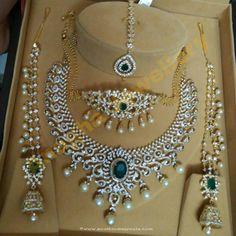 Jewellery Designs: Diamond Set Choker Tikka and Jhumkas Diamond Necklace Set, Diamond Pendant, Diamond Jewelry, Gold Jewelry, Diamond Bracelets, Bangles, Diamond Choker, Emerald Pendant, Ruby Necklace