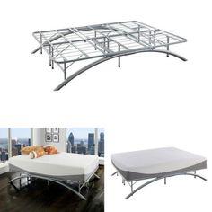 Platform-Bed-Frame-King-Ellipse-Arch-Brushed-Silver-Bedroom-Metal-Furniture