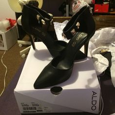 Aldo Cellina Heels Black Aldo Cellina Heels with Studs Never Used NEW ALDO Shoes Heels