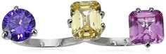 CZ by Kenneth Jay Lane Trend Triple-Stone Two-Finger Ring. Two-finger ring with rhodium plating featuring trio of multicolored cubic zirconia stones in round, emerald, and cushion cuts. Each cubic zirconia is hand prong set. Imported.