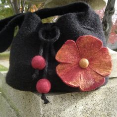 Black and red-orange felted flower shoulder bag ♡by UniquelyFelt