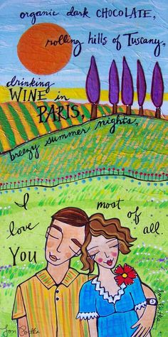 """The original painting that this print was made from, was created for a post on Creative Therapy http://creativetherapy.wordpress.com/2010/12/08/catalyst-one-hundred-and-twenty-five/  My catalyst was """"write a love letter."""" Easy. I love love letters!"""