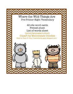 Wild Thing Pre-Primer Sight Vocabulary ~ Preschool Printables