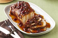 Come home to this Slow-Cooker Cranberry-Orange Pork Roast. Cranberry sauce and orange work their magic in this Slow-Cooker Cranberry-Orange Pork Roast. Slow Cooker Pork Roast, Pork Roast Recipes, Crock Pot Slow Cooker, Crock Pot Cooking, Slow Cooker Recipes, Cooking Recipes, Pot Roast, Pork Meals, What's Cooking