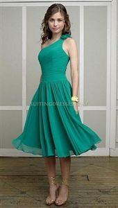 Mori Lee 883 Shamrock One Shoulder Tea Length Chiffon Bridesmaid Dress $76.00