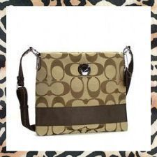 'Authentic Coach Stripe File Bag Khaki-Mahogany' is going up for auction at  9am Thu, Dec 27 with a starting bid of $100.