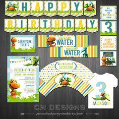 This listing is for a DIY Printable Birthday Party Package  ________________________________________    INCLUDED:    - Invitation  - Happy