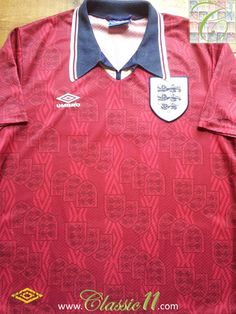 Relive England s 1993 1994 international season with this vintage Umbro  England away football shirt. 5f6c30aa8
