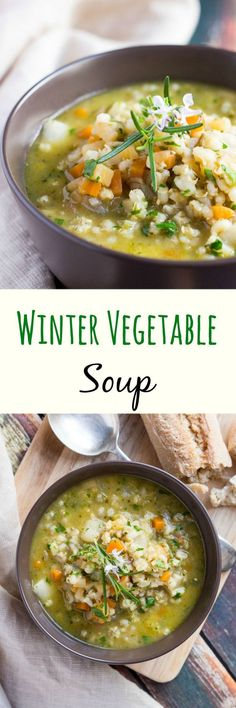 Hearty Winter Vegetable Soup is packed full of winter vegetables and pearl barley, providing a fantastic vegan meal for a cold winter's night. ******first veggie soup I've ever made and it's WONDERFUL! Winter Vegetable Soup, Winter Vegetables, Vegetable Soup Recipes, Vegetarian Recipes, Cooking Recipes, Healthy Recipes, Root Vegetables, Vegetable Stock, Vegetable Dishes