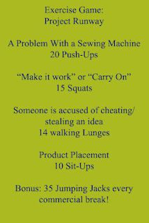 Project Runway workout--Hmmm, I might do this.......