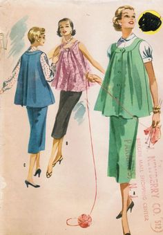1950s McCall's 3374 Vintage Sewing Pattern Misses' Maternity Jumper, Skirt, and Blouse Size 12 Bust 32