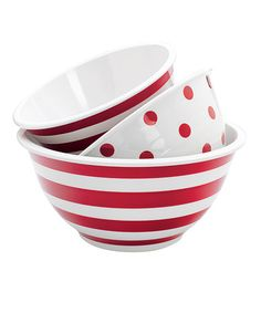 Take a look at this Red & White Mixing Bowl Set by Anchor Hocking on #zulily today! $35 !!