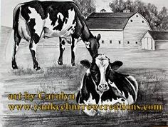 original artists print of cows on the farm