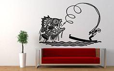 Wall Vinyl Sticker Decals Mural Room Design Pattern Fish Man Fishing Boat Ocean Sea bo667