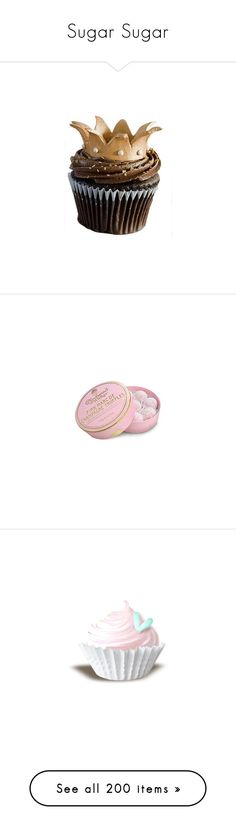 """""""Sugar Sugar"""" by shazellove ❤ liked on Polyvore featuring food, cupcakes, food and drink, fillers, cake, pink, pink fillers, decoration, birthday and drinks"""