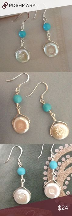 """Coin Peal and Turquoise Earrings Pretty Freshwater Coin Pearls with WireWrapped Turquoise! Sterling Silver Earwires. 1 3/4"""" to top of Earwire Jewelry Earrings"""