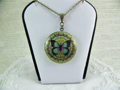 Butterfly Locket Colorful Butterfly Photo by CreatedinTheWoods, $18.95
