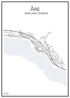 Åre. Jämtland. Sverige. Karta. City print. Print. Affisch. Tavla. Tryck.