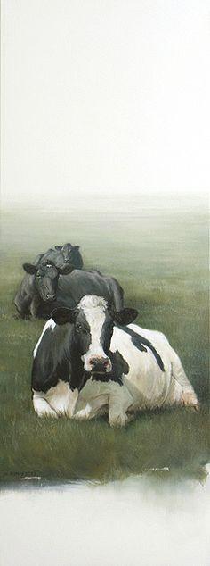 Sold | Three Lying Cows 32 x 12 inch (80 x 30 cm)  © 2009 Klimas