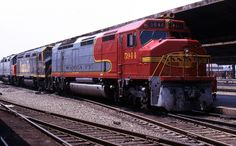 https://flic.kr/p/fgW4Ka | Mixed Bag of Cowls | Power from the Amtrak Southwest Chief sits at LAUPT on June 28, 1973. Here is FP45 5944/F45 5934/SDP40F 501.  In another month or so, there would be enough SDP40F's delivered so that the leased SFe FP/F45's could be returned.