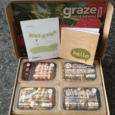 As we mentioned in a previous post Fitness back in October we have been receiving a Graze box every Wednesday to help us with our snacking. Spices Packaging, Food Packaging Design, Subscription Boxes, Monthly Subscription, Bistro Box, Graze Box, After School Snacks, Recipe Box, Food And Drink