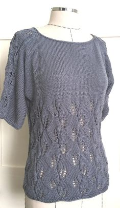 Knitting Patterns Ravelry Ravelry: Shades of Grey Summer Top pattern by JoliSylvie_Knitting&Crochet Sylvia Crochet Pattern Free, Lace Knitting Patterns, Knitting Stitches, Knit Crochet, Knit Lace, Knitting Videos, Summer Knitting, Baby Knitting, Knitting Sweaters