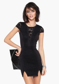 Lace Mini Dress in Black | Necessary Clothing