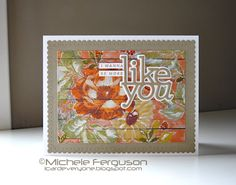 Wood patterned paper in background. I Card Everyone : Just like [fabulous] you! Create Your Own, Create Yourself, White Acrylic Paint, Distress Oxide Ink, Altenew, Wood Patterns, I Fall In Love, I Card, Hand Stamped
