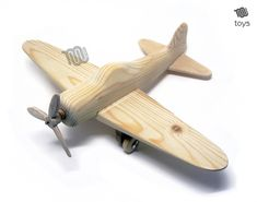 Wood plane, totally handmade out of fir wood. Weels rotate and propeller do twirl! Very elegant at look. Dimensions cm: altezza 8 x lunghezza 22 x profondità 27 inch : height x length x depth Weight 120 g - lb Wood Block Crafts, Wooden Crafts, Wood Projects, Woodworking Projects, Wooden Airplane, Wooden Toy Cars, Wood Toys, Making Wooden Toys, Handmade Wooden Toys