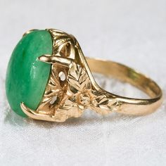 Vibrant Apple Jade Ring 18k Gold Hand Carved Leaf Ring from tanyastreasures on Ruby Lane