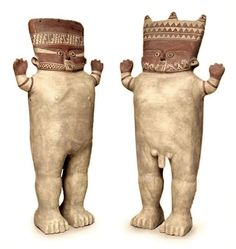 Museum reproductions. Standing with open arms, two large cuchimilcos proudly represent Peru's Chancay culture that flourished from 1200 to 1470 A.D. Their welcoming posture is believed to keep bad energies at bay. They are always found in pairs featuring a man and a woman, symbolic of divine duality, a belief held by all pre-Hispanic cultures. Artist: http://www.novica.com/commonDSP/dsp_popup_story.cfm?action=artist&id=7284&showReviews=true