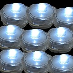 Micandle 24 Pcs Blue LED Submersible Light-not Flickering Battery Operated Waterproof Tea Lights-wedding Underwater Little Lights for Party,bars,wine Glass and Special Events