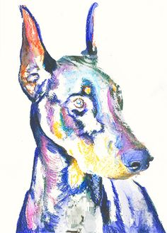Doberman Dog Painting abstract Print, Dobie wall art , Dog watercolor Doberman lover gift idea Colorful Doberman picture art print.  This