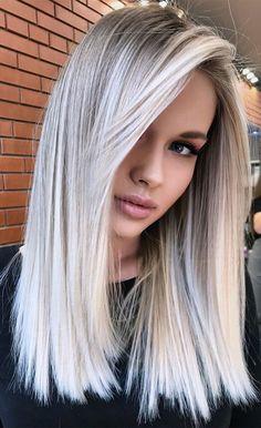 Silver Blonde Hair, Blonde Hair Looks, Blonde Hair With Highlights, Platinum Blonde Hair, Icy Blonde, Bright Blonde Hair, Ash Blonde Balayage, White Hair With Lowlights, Wedding Hair Blonde