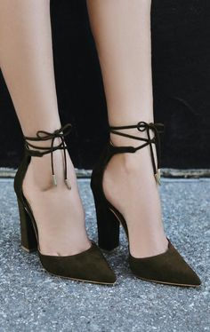 Angela Olive Suede Lace-Up Heels There's no such thing as too many shoes! The post Angela Olive Suede Lace-Up Heels appeared first on Beauty Shares. Cute Shoes, Me Too Shoes, Women's Shoes, Shoe Boots, Dress Shoes, Shoes Sneakers, Teen Shoes, Dance Shoes, Lace Up Heels