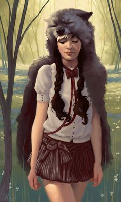 Kelly Perry - I bet you've never envisioned Little Red Riding Hood the way Kelly Perry has envisioned the classic fairy tale character. Illustrations, Illustration Art, Charles Perrault, Red Ridding Hood, Big Bad Wolf, Red Hood, Claude Monet, Little Red, Fairy Tales