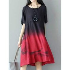 Casual Women Gradient Color Short Sleeve Dresses c8dc7ad7f41