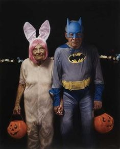 TRICK or TREAT / American artist Jason Bard Yarmosky, a graduate of the School of Visual Arts, is best known for his series of paintings, Elder Kinder. These works juxtapose youth with old age, and explore the social connotations of aging. Vieux Couples, Old Couples, Elderly Couples, Funny Couples, Romantic Couples, Growing Old Together, Old Folks, Batman, Poster Design