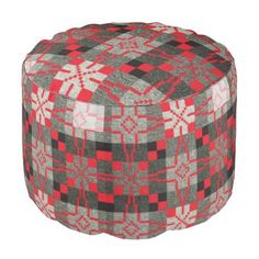 """Title : #604, Geometric, Squares, Stripes, RD, BK, GY Pouf  Description : Color Abbreviations: ALL=Any Color, BG=Beige, BK=Black, BL=Blue, BN=Brown, DK=Dark, GD=Gold, GN=Green, GY=Gray, IV=Ivory, LT=Light, OL=Olive, OR=Orange, PK=Pink, RD=Red, TN=Tan, VT=Violet, WT=White, YL=Yellow, TU=Turquoise, Tribal-Geometric-Ethnic Patterns, include Stripes, Arrows, Triangles, Animal-Drawings, """"Woodland-Animals, Floral, Cross, Circles, Plus Signs, Broken Checks, Abstract, """"Spiritual-Inspired""""…"""