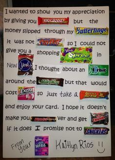 What a cute and creative way to let your teacher know they're appreciated! Candy Inspired Teacher Appreciation Poem-- maybe have pictures of the candy then a big bowl of candy in the teacher's break room. Homemade Birthday Gifts, Friend Birthday Gifts, Diy Birthday, Candy Birthday Cards, Candy Bar Cards, Mothers Birthday Presents, Candy Bar Signs, Birthday Candy Grams, Birthday Ideas For Mom